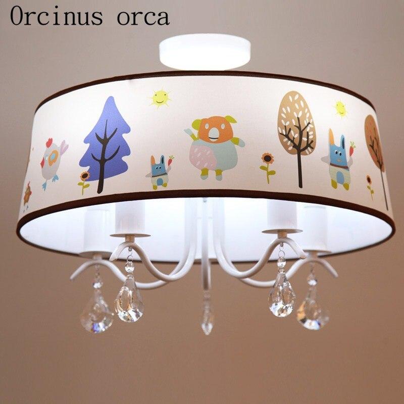 Warm pastoral LED cartoon creative chandelier childrens room bedroom lamp boy Girl Bedroom crystal chandelier free shipping