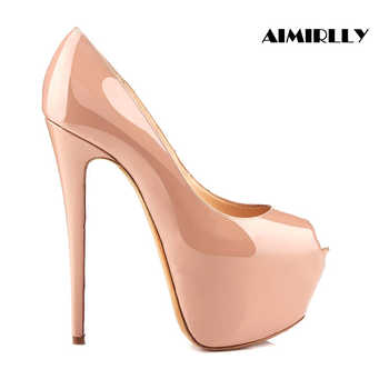 Aimirlly Women\'s Shoes Platform High Heels Pumps Peep Toe Stilettos Female Ladies Evening Party Clubwear Dress Shoes Nude Black - DISCOUNT ITEM  19% OFF Shoes