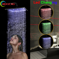 Three Sizes LED Changing Oil Rubbed Bronze Brass Rain Shower Head Top Over Head Sprayer