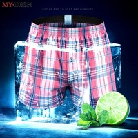 Mens Beach Casual Loose Cotton Shorts Plaid Sweat  ...