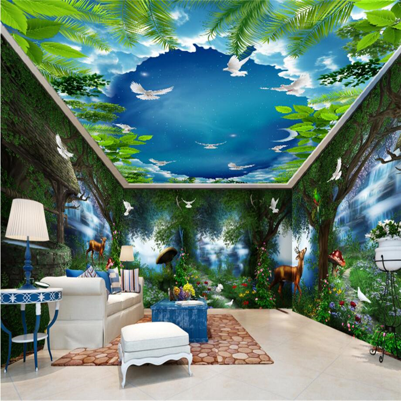 Beibehang fairy tale forest waterfall large painting home for Fairy tale mural