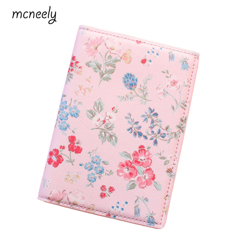 Pink floral Passport Holder For Women, PU leather Travel ID Card Bags Passport Cover, Flight bag,coin purse 14*10cm