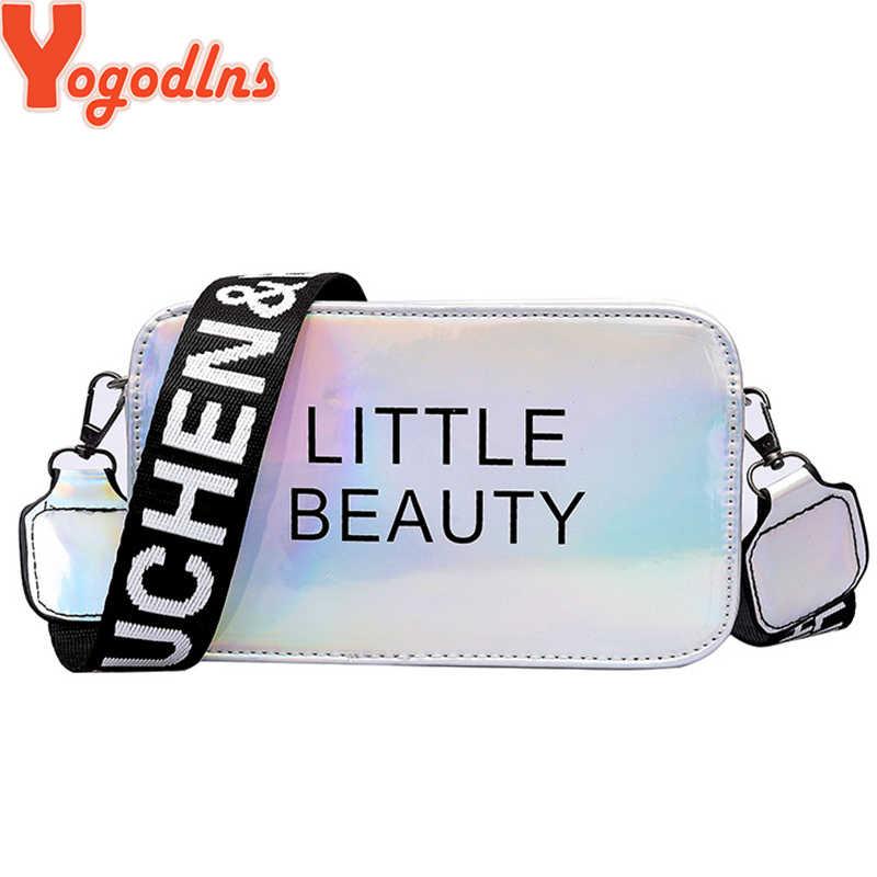 Yogodlnsแฟชั่นฤดูร้อนบุคลิกภาพไหล่กระเป๋าสตรีกระเป๋าเลเซอร์ที่มีสีสันกระเป๋าผู้หญิง 2020 หญิงCrossbodyกระเป๋า