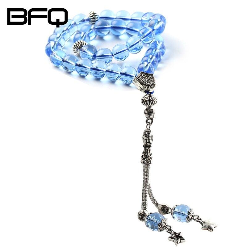 BFQ Muslim Moon Star Light Blue Crystal Round Shape 33 Prayer Beads Rosary Islamic Tasbih Allah Masbaha Misbaha Tesbih Tespeeh