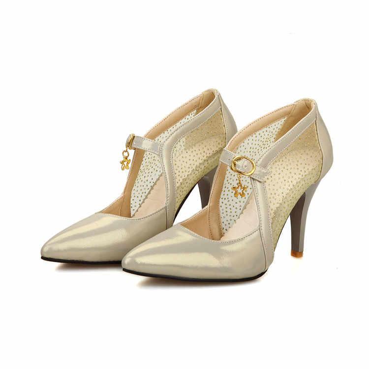 Duży Plus rozmiar damskie buty damskie buty wysoki obcas 2018 kobiety pompy sapato feminino lato styl letnie buty chaussure femme 205