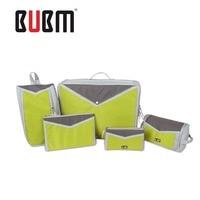 BUBM five piece traval bag toiletries makeup pouch clothes receiving bag digital receiving bag big capacity green waterproof