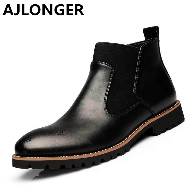 AJLONGER Moccasins Zapatos Masculino Men Shoes Genuine Leather rain boots fashion Martin chelsea botas hombre casual slip-on