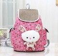Cute Rabbit Canvas School Backpacks Lovely School Bags for Girls Drawstring Bag Kids Satchel Mochila Infantil Children Schoolbag