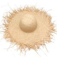 Women Summer Sun Hat With A Large Brim Ladies Raffia Straw Hat Burr Beach Hats For