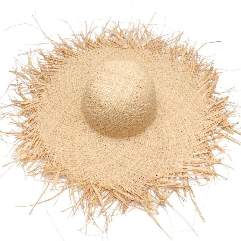 Women Summer Sun Hat With A Large Brim Ladies Raffia Straw Hat Fringe Big Beach Hats For Holiday Sombrero Hombre Verano