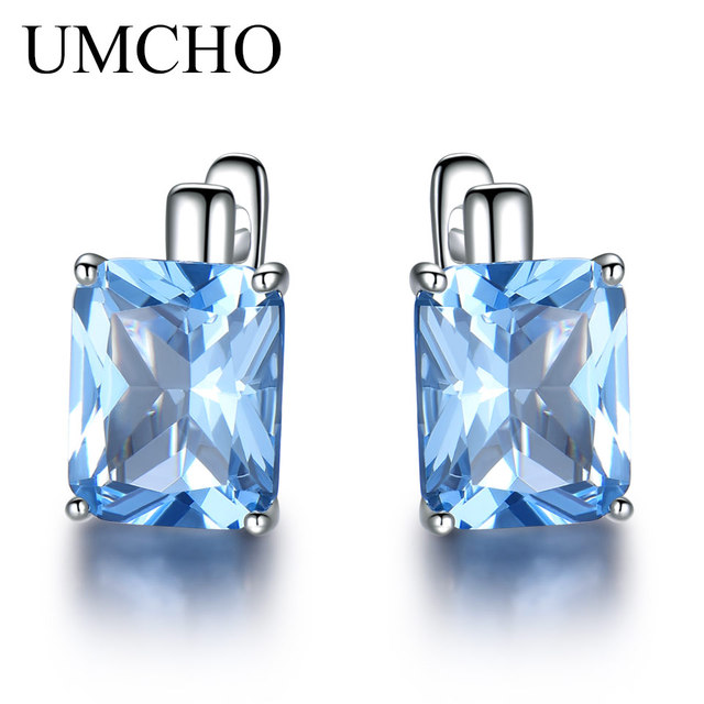 bc961cba0 UMCHO Luxury 8.0ct Sky Blue Topaz Gemstone Jewelry Solid 925 Sterling Silver  Clip On Earrings For Women Birthday Gift Fashion