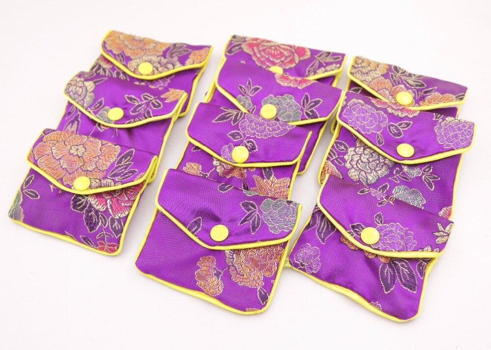 10pcs purple flower baldachin cloth gift jewelry bags pouches 65mm*80mm