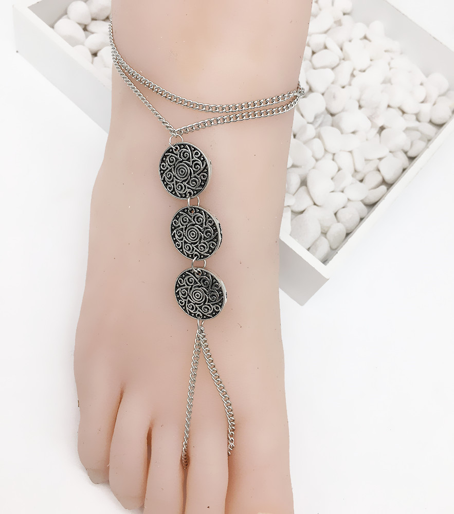 1PC Fashion Women Silver Bohemia Beach Barefoot Foot Jewelry Anklet Chain Jewelry Imitation Pearl Chain