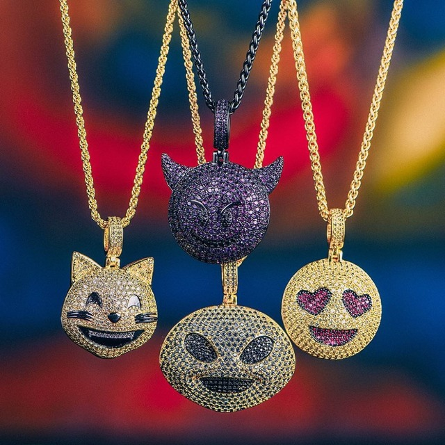 TOPGRILLZ Personalized Iced Out Emoji Pendant Necklace Gold Silver Chain  Hip Hop Jewelry With Tennis Chain Gifts for Men Women 05426442d