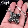 Beier new store 316L Stainless Steel pendant necklace flower vintage men pendant unique jewelry BP8-106