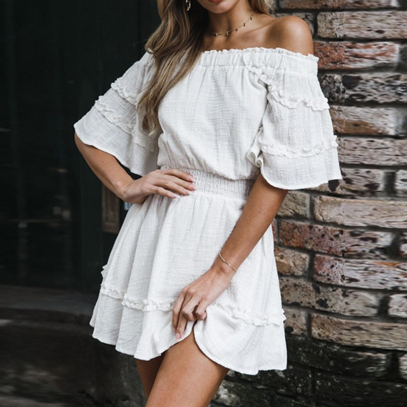 Liva girl Bohemian Beach Bell Floral Print Flounce Sleeve Ruffle Hem Dress Summer Women Casual Dress LW-8047
