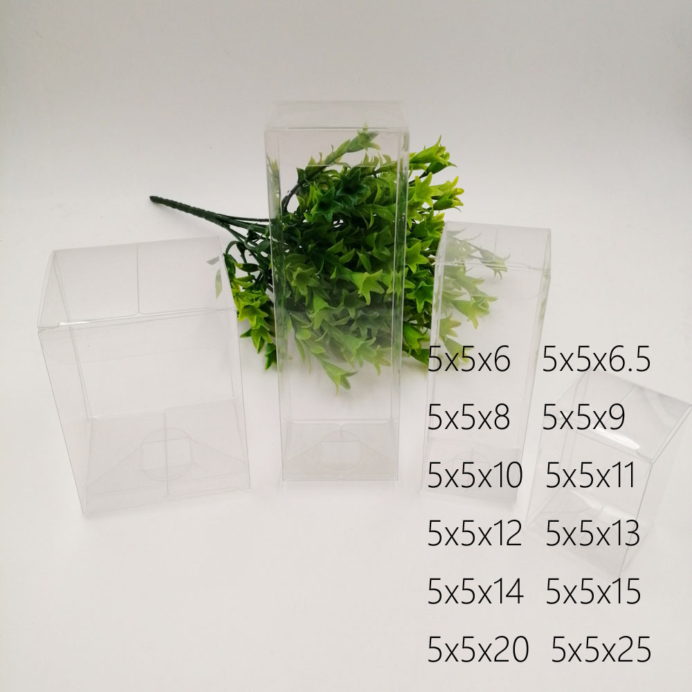 50pcs 5x5xH Pvc Plastic Box Storage Transparent Boxes Jewelry Gift Box Wedding/Christmas/Candy/Party For Gift Packing Boxes Diy