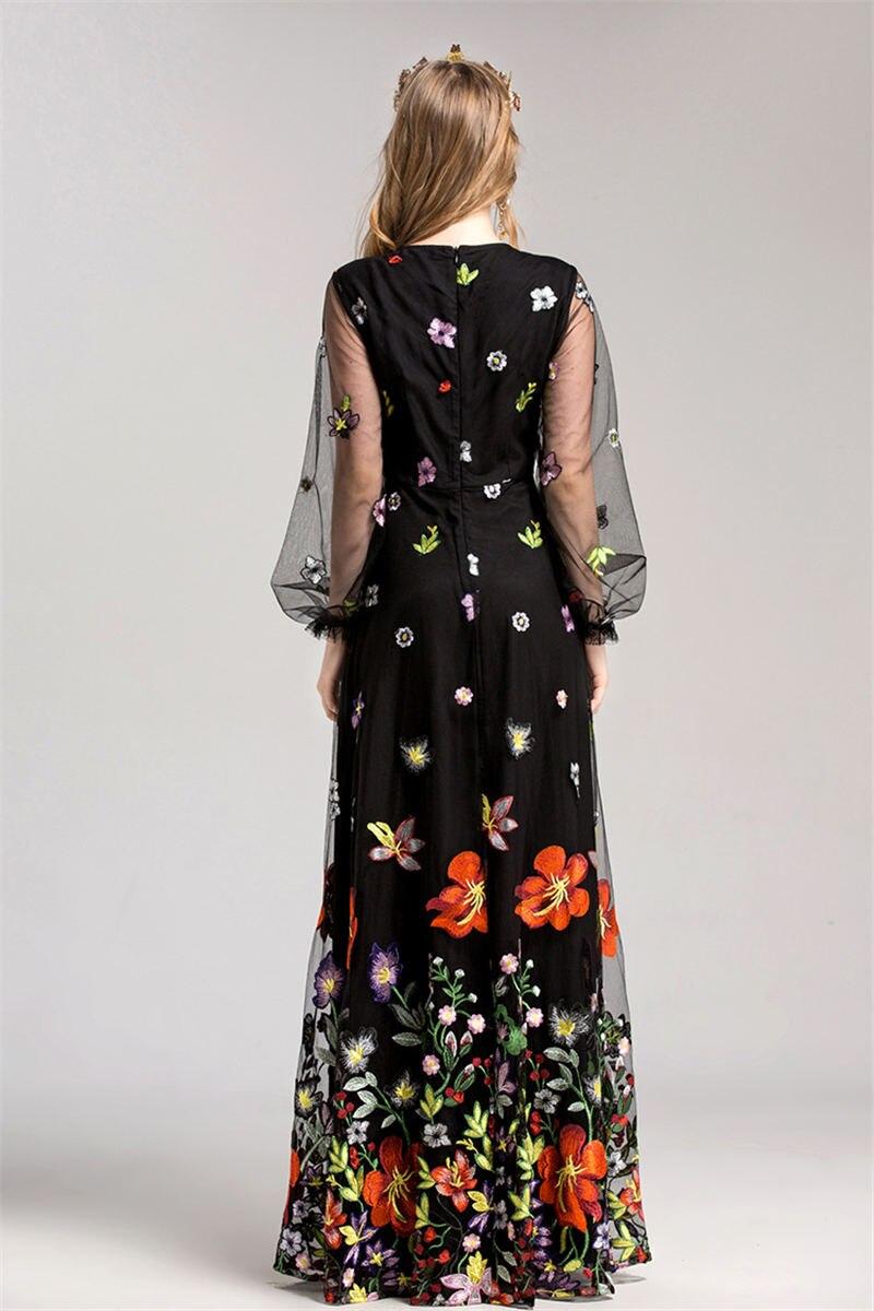 HTB1OrfriZnI8KJjSspeq6AwIpXai - 2018 Spring High Quality Mesh Floral Embroidery Long Dress Full Sleeve Vintage Flower Black Runway Designer Maxi Women Desses