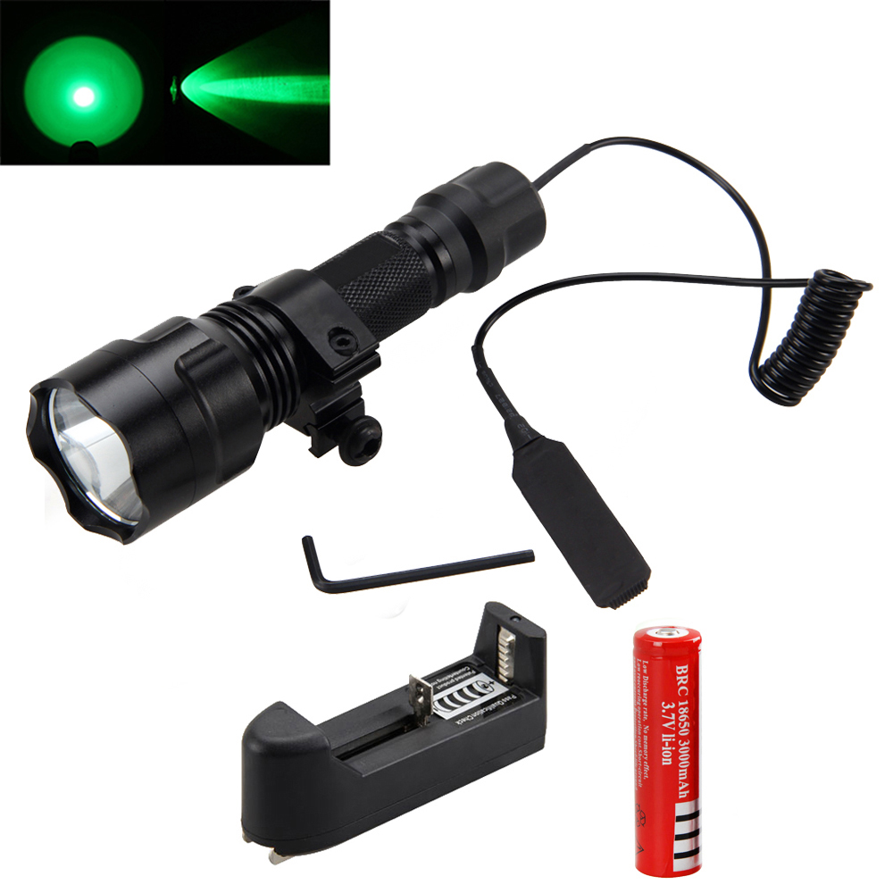2000Lumens T6 LED Hunting Light Tactical Flashlight & Pressure Switch & Mount &Battery Charger