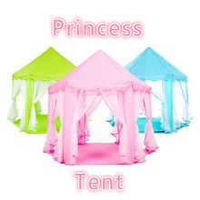 Pink Green Blue Large Space Children's Indoor Hexagonal Child Tent Play House Princess Game Castle Tent Doll House Freeshipping(China)