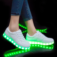YPYUNA Led Luminous Sneakers Girls Boys Casual Children Shoes High Glowing With Recharge Lights Up Simulation