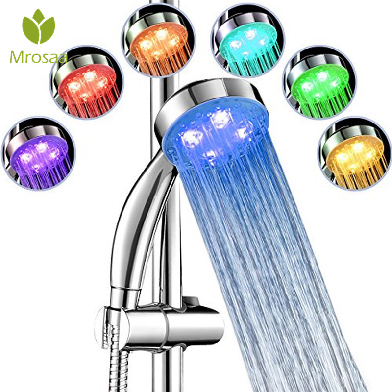 Hot!! Mrosaa Automatic 7 Colors Changing Shower Head Handheld LED Light Water Saving Spray Bathroom Glowing Shower Head