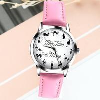 Women Watches Gift Fashion Cat Pattern Ladies Girls Quartz Wrist Watch Leather Band Clock Reloj Mujer 2018 #F
