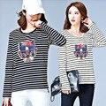 2017 Nueva Primavera de Gran Tamaño de la mujer T-shirt Top de Rayas de Impresión Suelta Causa Tendencia Versión Coreana de Ropa