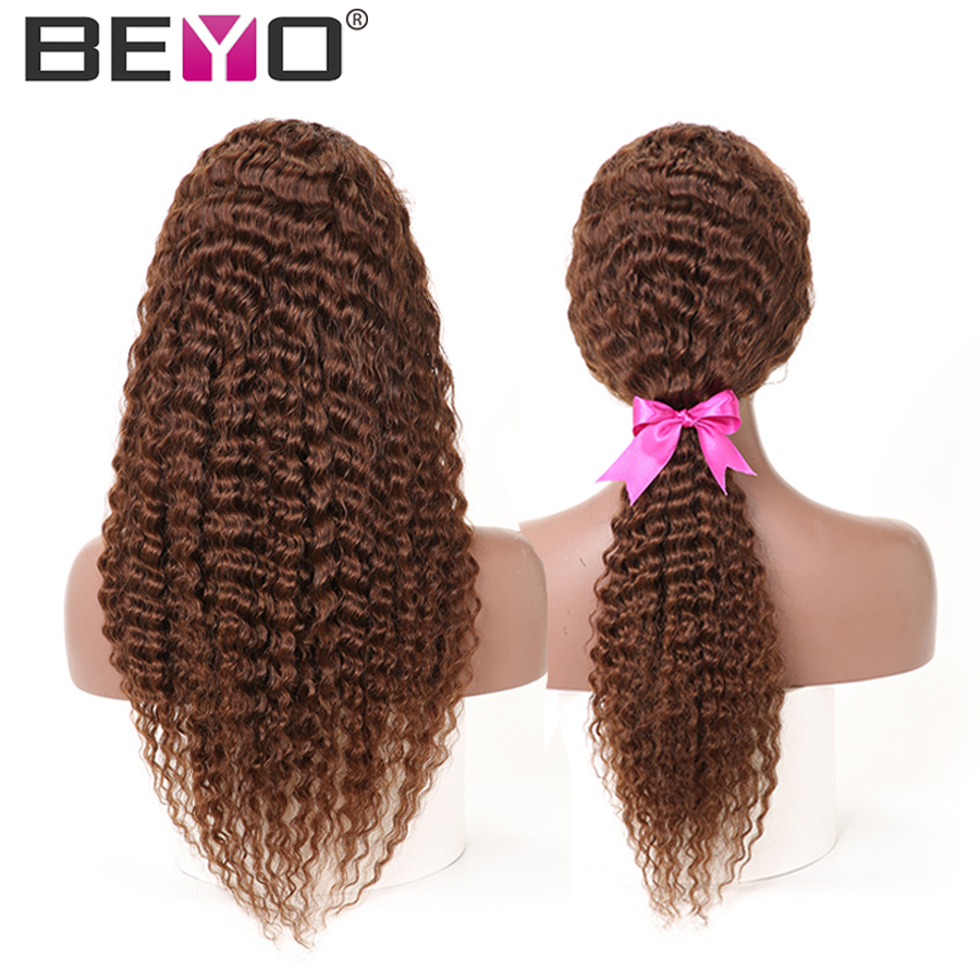 Brazilian 13X4 Deep Wave Wig Lace Front Human Hair Wigs Pre Plucked Lace Wigs For Woman Light Brown Non Remy Wig Beyo-in Human Hair Lace Wigs from Hair Extensions & Wigs    1
