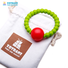 Baby Food Grade Round Silicone Baby Teether Bracelet Teether Loop Bracelet Bangle Soft Beads Hand Bell Rattles Toy For Infant
