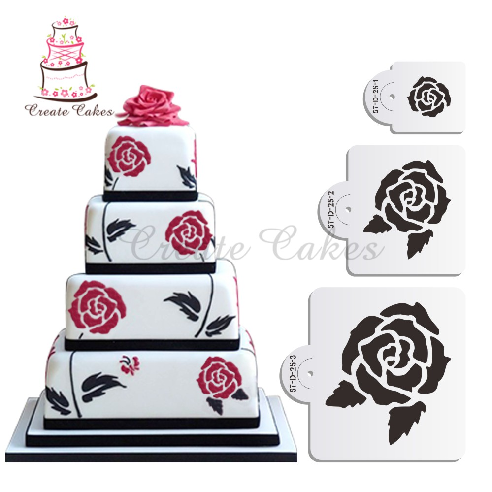 Flower Roses Cake Stencil Set Flower Cake Decorating Stencil Plastic