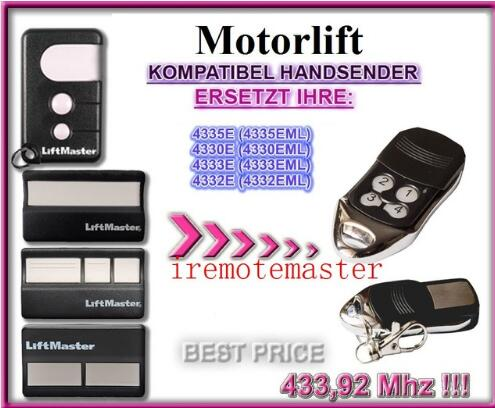 Motorlift 4335E (4335EML),4330E (4330EML),4333E (4333EML),4332E (EML) replacement remote control motorlift 84335aml 84330aml replacement remote transmitter dhl free shipping