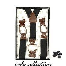 Vintage Man suspenders leather Men Women Braces 6 Clips Elastic Suspenders Adult Straps 3.5cm 110cm Gentleman Accessories