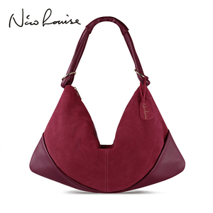Image 1 - Women Handbags Real Suede Leather Shoulder Bag Ladies Fashion Hobo Bags Casual Leisure Shopping Sac A Main Femme Bolsos Mujer
