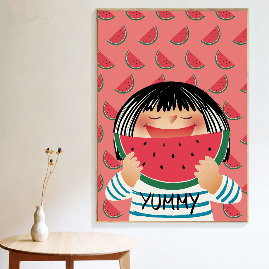 Kawaii Little Girl Watermelon Wall Art Print Canvas Painting Nordic Poster Pop Art Wall Pictures For Kids Room Decor