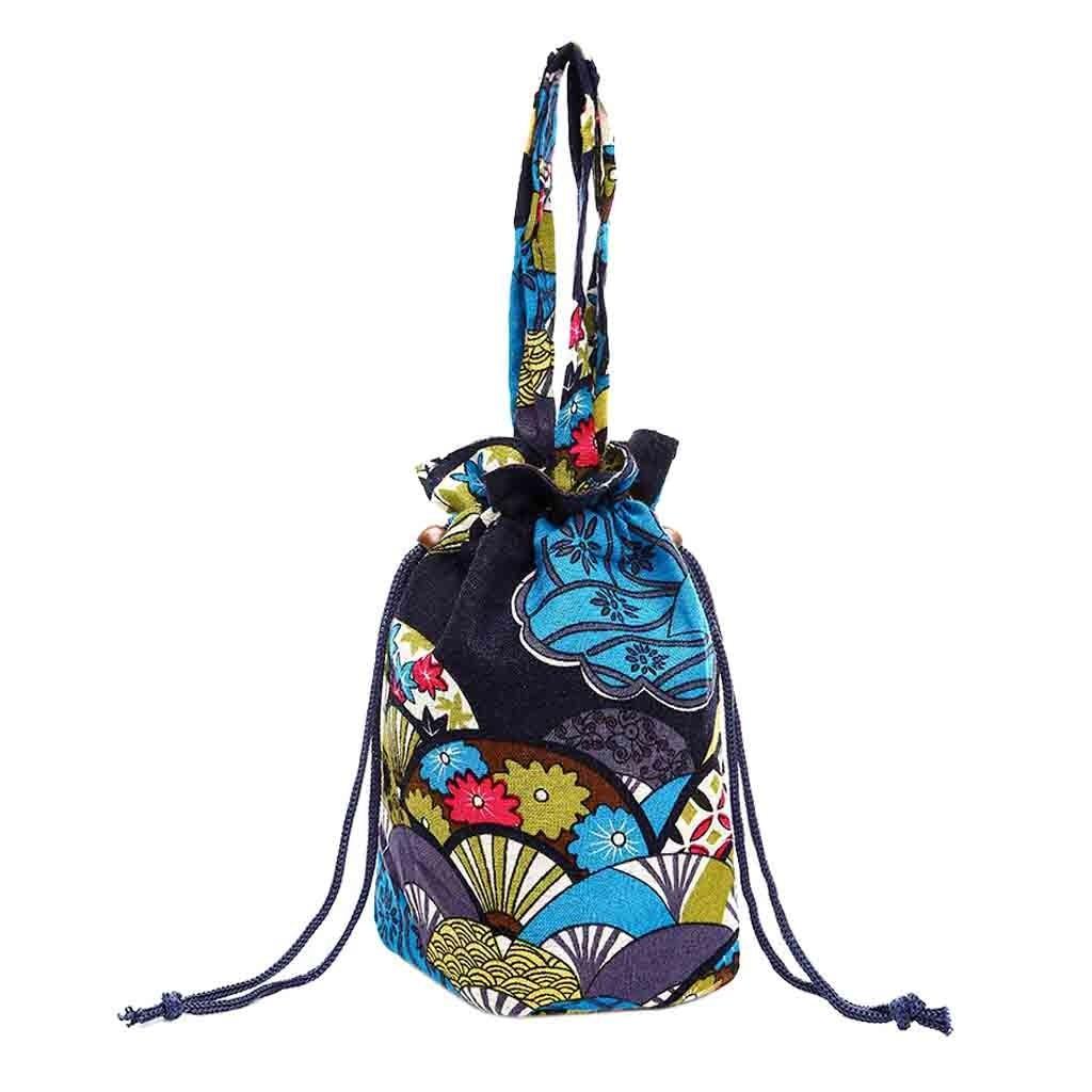 Canvas Floral Bucket Bag Hand Bag Printing Crossbody Bag Drawstring Bag In Stock ping