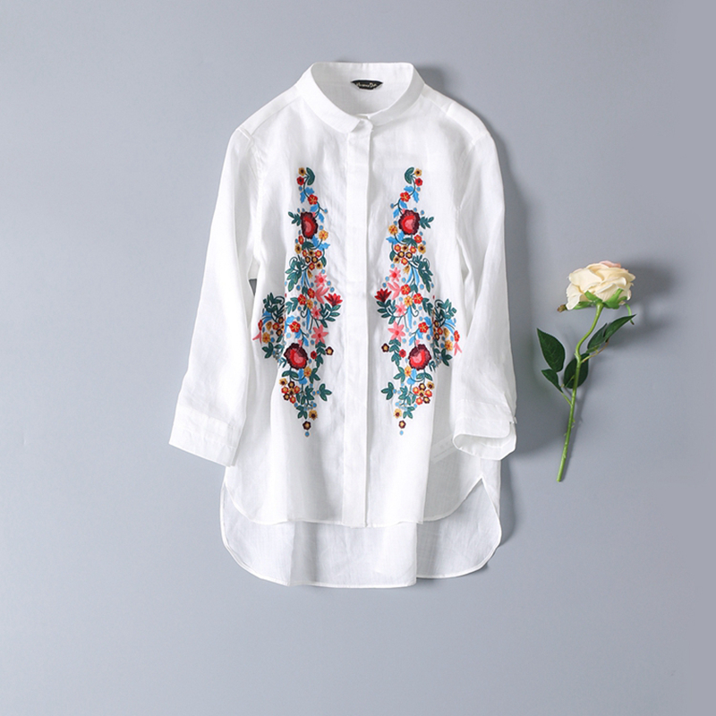 White Blouse Women Shirt Embroidery Cotton Blended Simple Design
