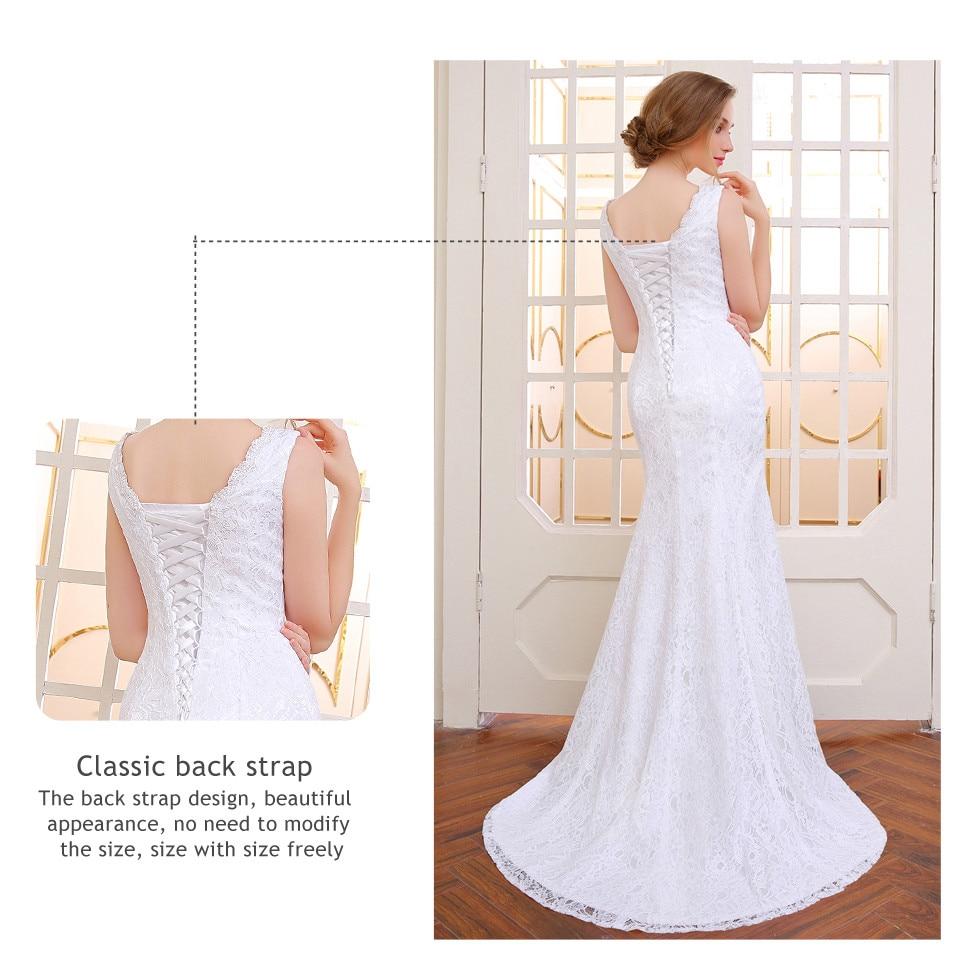 V-Neck Lace Appliques Backless Mermaid Wedding Dress 3