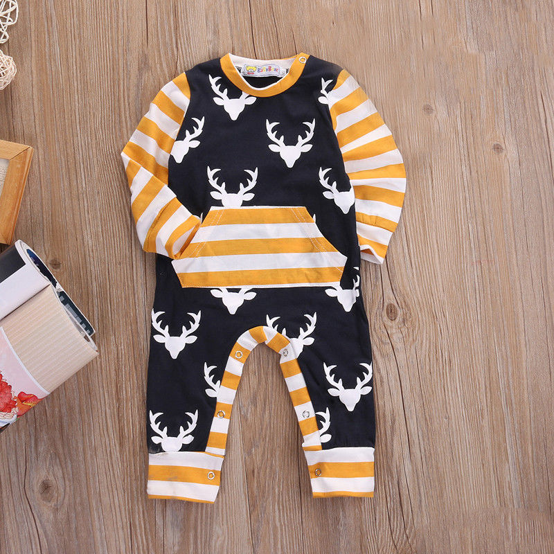Newborn Toddler Baby Boys Clothes Deer Long Sleeve Rompers Cotton Striped Jumpsuit Baby Boy Outfits Autumn Clothing baby clothes autumn winter baby rompers jumpsuit cotton baby clothing next christmas baby costume long sleeve overalls for boys