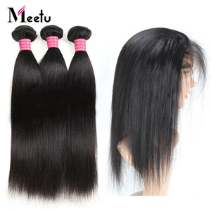 Meetu 360 Frontal with Bundles Malaysian Straight Hair Bundles with Frontal 2 Bundles with Lace Frontal 100% Human Hair Non Remy