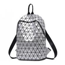 High Designer Women Large Geometric Backpack Teenager Girls College School Bookbag Diamond Fashion Winter Travel