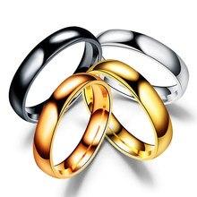 HOBBORN-Anillo de titanio sencillo de 4mm para hombre y mujer, anillo de boda de acero inoxidable pulido alto para prevenir alergias, joyería para dedos para parejas