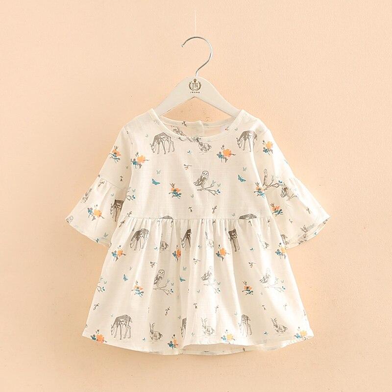Baby Girl flare sleeve Cartoon Dress Infant White bird
