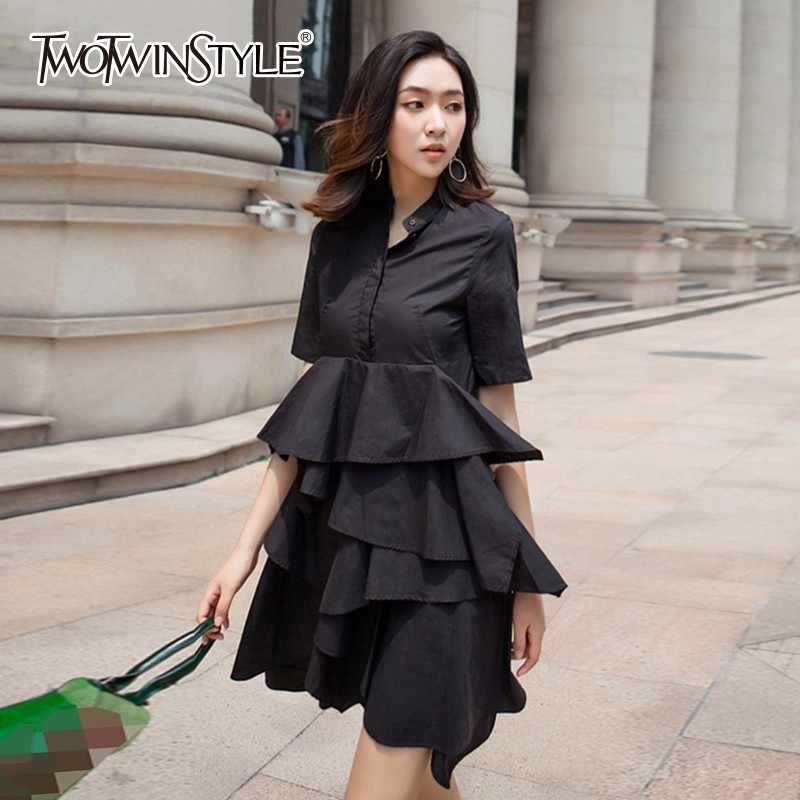d6b00832f94 TWOTWINSTYLE Ruffles Summer Dress Ladies Stand Collar Short Sleeve  Patchwork High Waist Pocket Irregular Mini Dresses