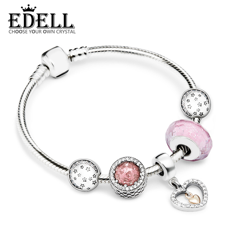 EDELL 100% 925 Sterling Silver Brand New 1:1 Heart and Soul, Telling The Whole Life Love Bracelet Set Women's Charming Gift