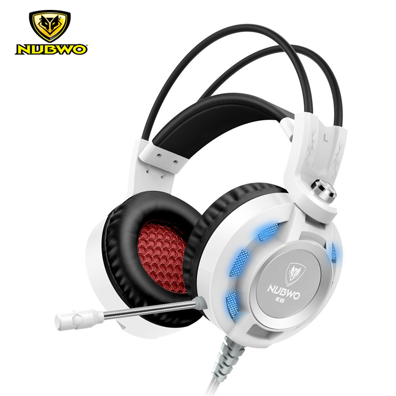 Original NUBWO K6 USB Gaming Headphones 3.5mm+USB With Microphone LED Light Bass Stereo Sound Over Ear Headsets For PC Gamer plextone pc750 over ear gaming headphones stereo bass headsets with super shocking sound noise canceling mic for pc laptop gamer