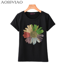 Diamonds T Shirt Women 2019 Camisas Femininas O-Neck T-Shirt Short Sleeve Tshirt Floral Tees Womens Tops Casual Tee Femme