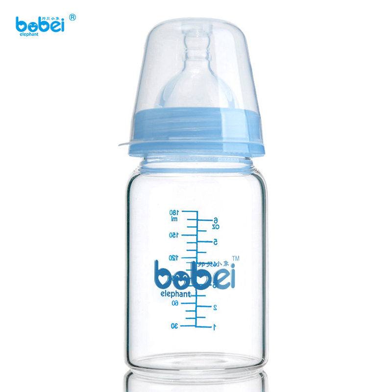 180ml Baby Kids Water Juice Milk Feeding Glass Bottle Big Mouth Silicone Nipple Anti-dust Cover Easy To Clean