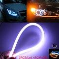2 x 45 cm led car Light farol tira flexível Daytime Running luz Turn Signal lamp Angel eye DRL Styling fog Light estacionamento