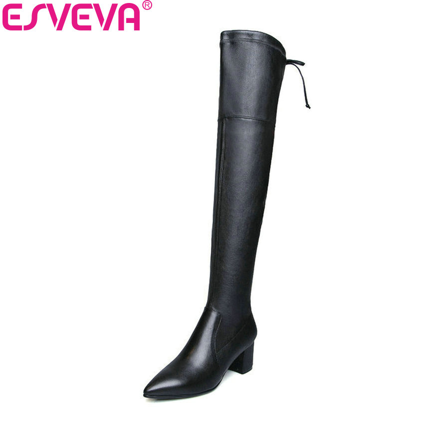 ESVEVA 2019 Women Boots Square High Heels Pointed Toe Shoes Woman Over The Knee Boots Solid Zipper Winter Long Shoes Size 34-39 anmairon high heels lace charms shoes woman over the knee boots zippers round toe long boots size 34 39 black winter boots shoes